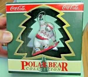 Coca-Cola 1995 Polar Bear Collection Snowboarding Polar Bear Christmas Ornament