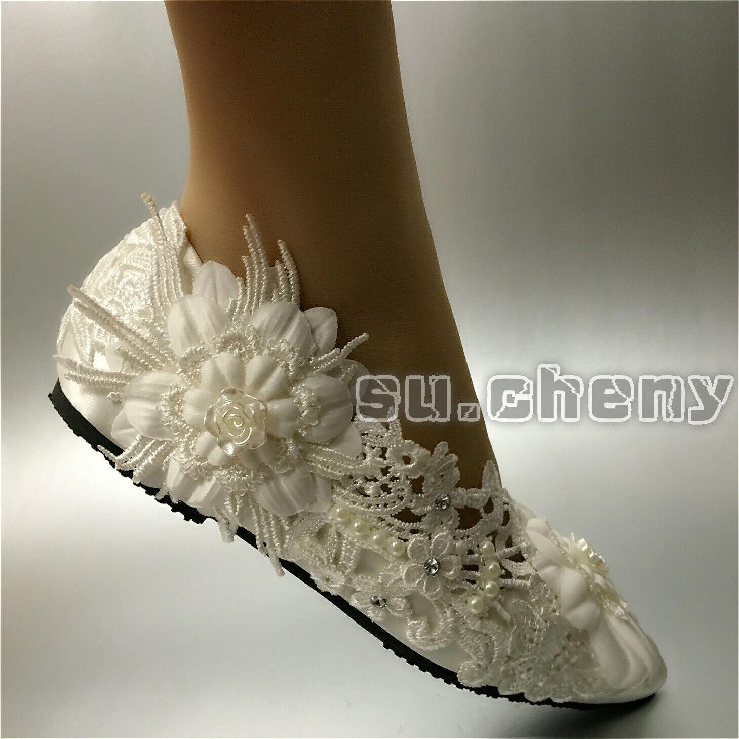 On. cheny Ivory White Silk Bridal Satin Flat Ballet Lace Shoes 5