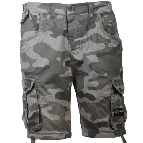 Mens Crosshatch Cargo Olive Green Combat Camo Shorts Ryehill