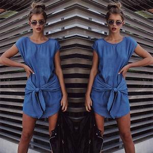 Summer-Womens-Fashion-Short-Sleeve-Jeans-Long-T-shirt-Casual-Denim-Mini-Dresses