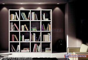 Libreria moderna art 568 design in bianco frassinato soggiorno