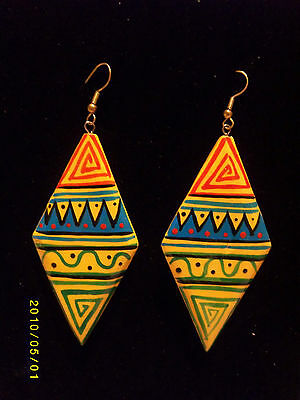 Tribal Aztec Hand Painted African Ethnic Design Dangly Earrings Vintage Colours