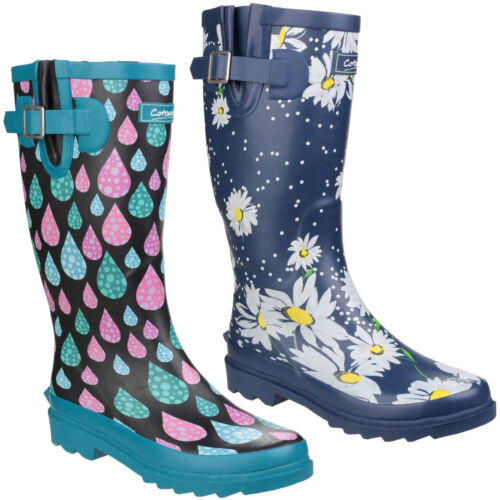 Cotswold Burghley Wellington Boots Raindrop Daisy Wide Calf Womens Wellies UK3-8