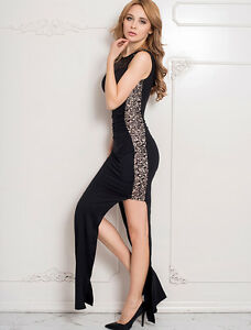 Long-Black-Dress-Lace-Split-Sides-Nude-Fabric-Under-Lace-for-Modesty-size-16