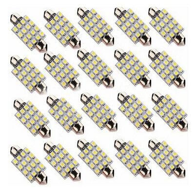 10pc Car 39mm Super White 16 SMD LED Festoon Bulb Light Interior Auto Dome Lamp