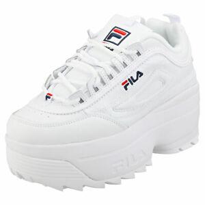 Détails sur Fila Disruptor 2 Wedge pour Femme en Cuir Blanc & synthétique plate forme Baskets afficher le titre d'origine