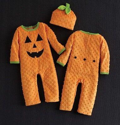 Mud Pie Unisex Minky Halloween Pumpkin One Piece and Hat