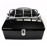 Motorcycle Trunk Luggage Case Tail Box Rack Backrest Durable For Touring Cruiser on sale