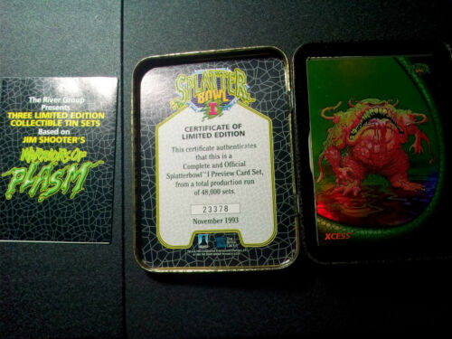 Splatter Bowl 1 Tin Trading Cards Complete Set of 30 Bonus Card