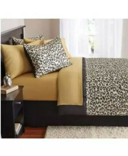 Animal Print Bedding Set XL Twin Size 6-Piece Bed-in-a-Bag Comforter Sheets Sham