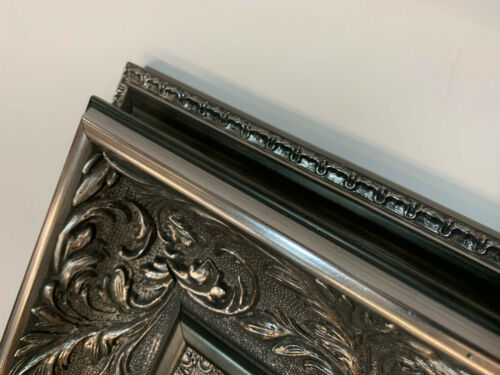 Wall Mirror Decorative Pewter Silver  Vintage French Style Frame 93cm x 68cm