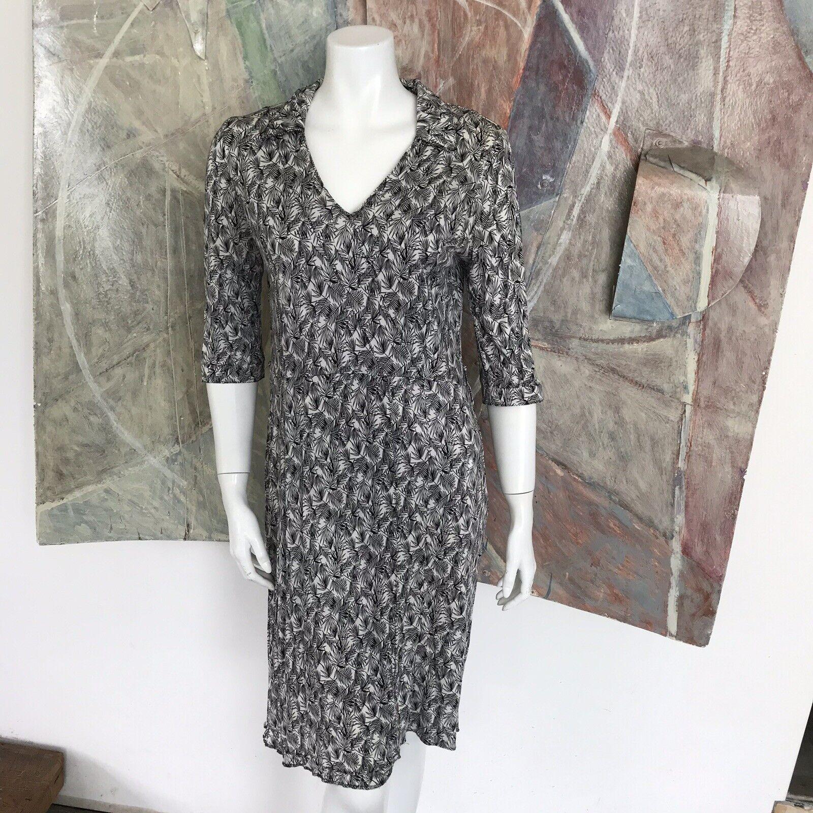 Whistles London Seide Muster Knielang Knielanges Schwarz Weißes Kleid Größe 10