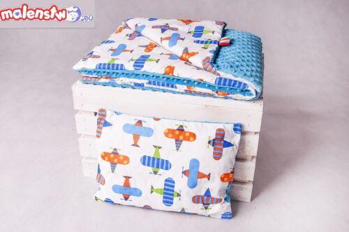 Zweilagige Decke  Babydecke plus Kopfkissen  Baumwolle  75 x 100 cm  MINKY