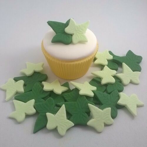 24 EDIBLE IVY LEAVES IN 2 SIZES AND COLORS cupcake flowers sugar paste