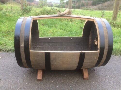 Oak barrel cradle planter