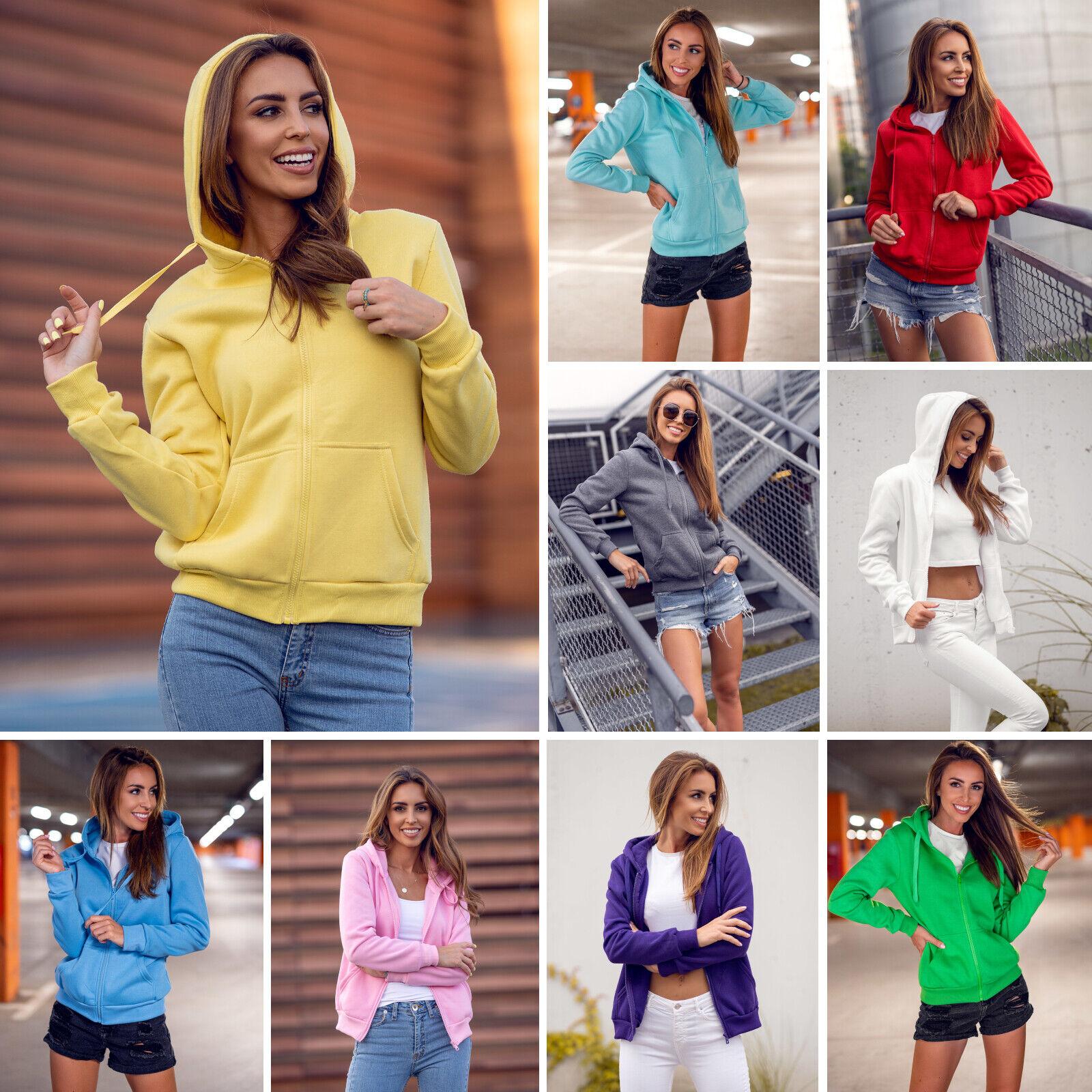 Kapuzenpullover Sweatjacke Sweatshirt Unifarben Basic Sport Damen BOLF Kapuze