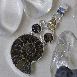 Schlangenstein-Schutzamulett-Ammonit-925Silber-Citrin-Rauchquarz-Handgeschmiedet