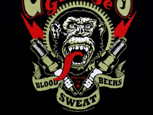 Gas Monkey Garage Spark Plugs Blood Sweat Beers Licensed Black Mens T-shirt