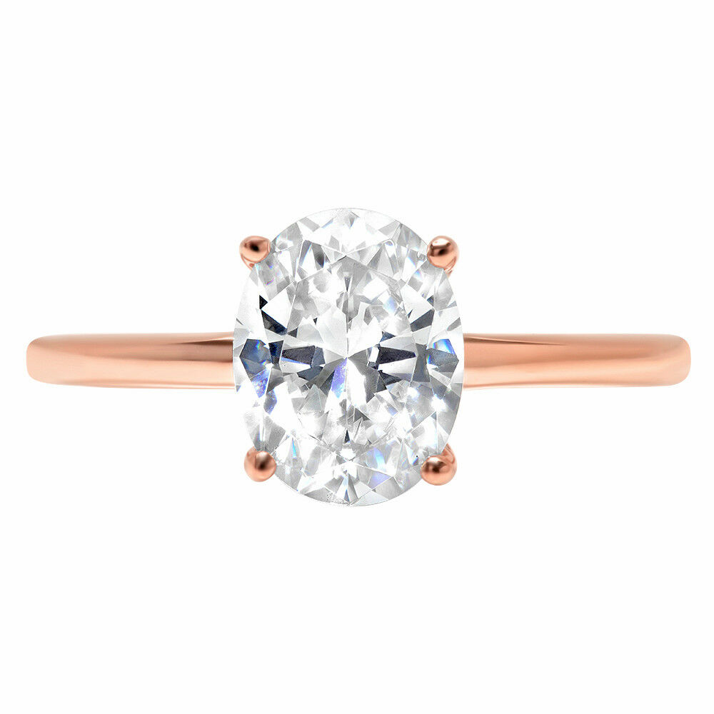 1.8 Oval Cut Wedding Bridal Solitaire Statement Promise Ring Solid 14k pink gold