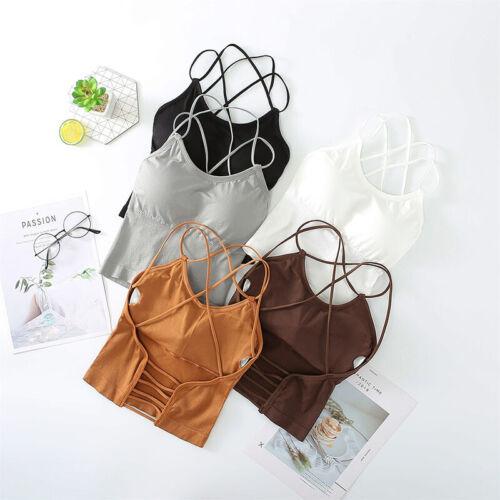 Women Crop Top Backless Bandage Bra Bralette Vest Halter Sleeveless Tank TopsVX