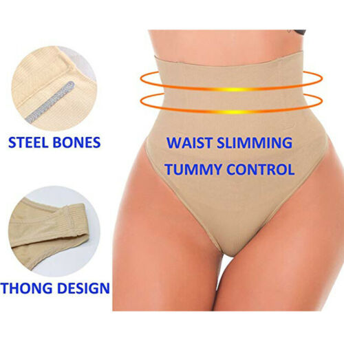 Women Boned Waist Cincher Mid Waist Tummy Control Knickers Slimming Thong Shorts