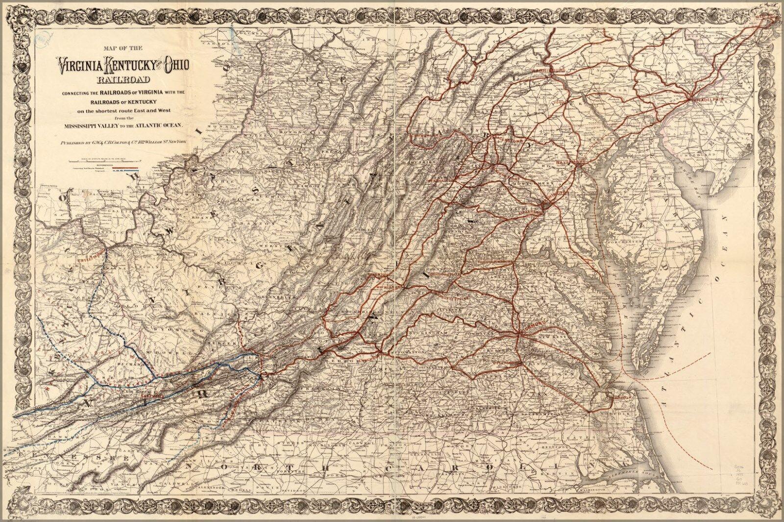 Poster, Many Größes; Map Of Virginia Kentucky Ohio Railroad 1881