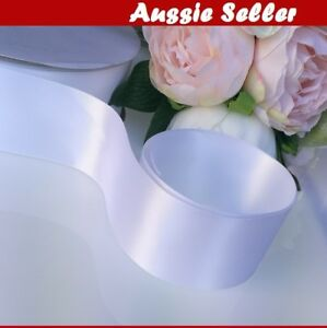 White-SATIN-CAR-RIBBON-50-mm-x-23Meters-WEDDING-DOUBLE-FACED-High-Quality