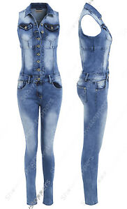 Stretch 12 14 All Ladies Denim 8 In Womens 10 Jumpsuit 16 One Size New Dungaree Yq4PCw
