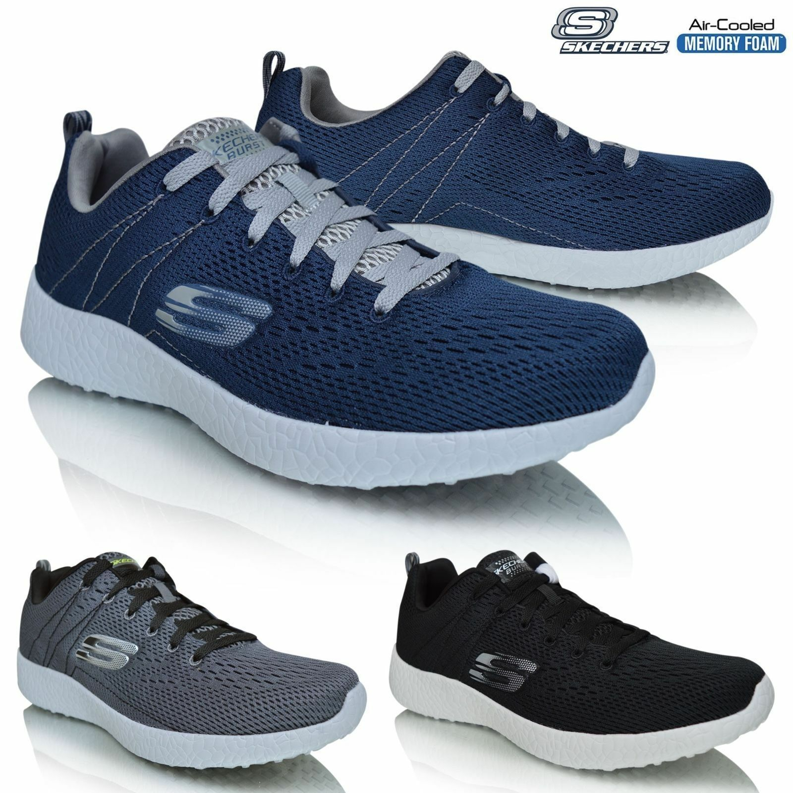 MENS SKECHERS BURST SECOND WIND TRAINERS BLACK / NAVY & CHARCOAL GREY SIZE 7-13