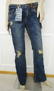 Nwt-Stitch-039-s-Cherokee-Low-Rise-Destroyed-Flare-Denim-Jeans-Sz-28-6-Thunder-185