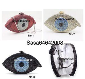 Evening luxury crystal clutch multi color purse handmade handbag