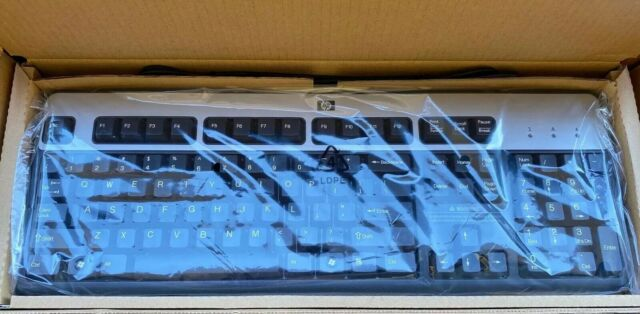 HP KU-0316 USB Wired Keyboard 434821-002 104-Key Black and Silver 434821002