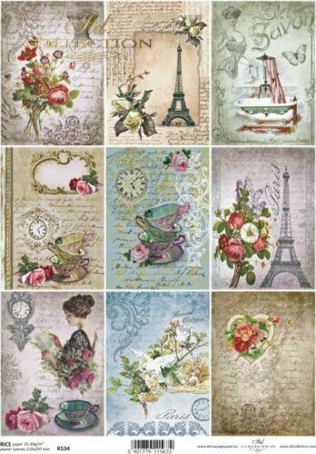 Reispapier-Motiv Strohseide-Decoupage-Serviettentechnik-Vintage-French-R0534