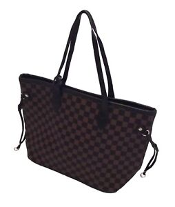 Women-Ladies-Checker-Designer-Style-Tote-Bag-Leather-Style-Shoulder-Handbag