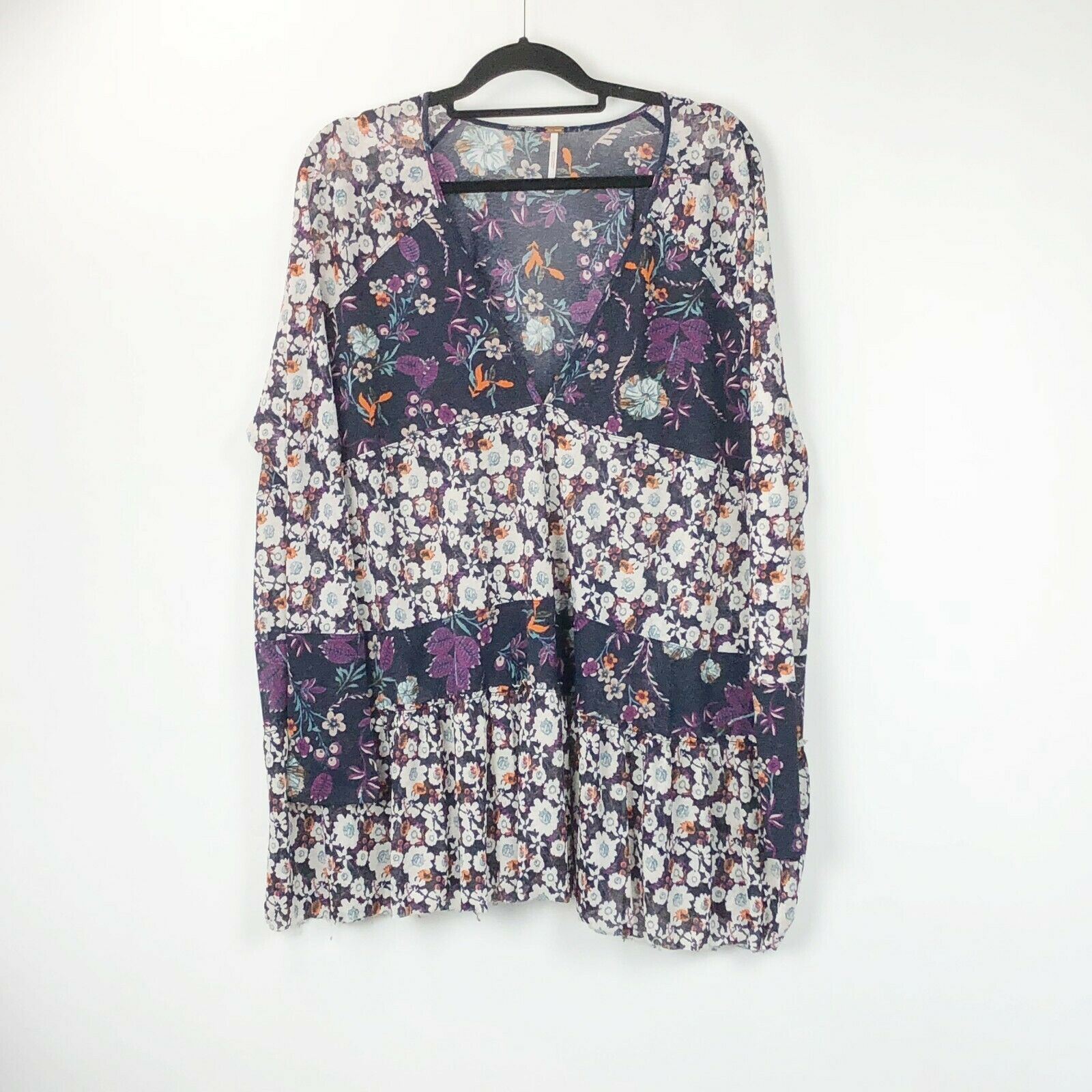 Free People Large Womens Isabelle Sheer Floral Tunic Top