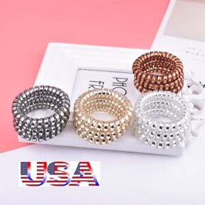 12Pcs-Rubber-Telephone-Wire-Hair-Ties-Spiral-Slinky-Hair-Head-Elastic-Bands-USA