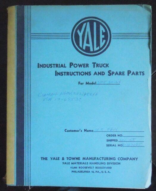 1958 YALE G3 SERIES FORKLIFT MODEL DP5 20-24 PARTS SERVICE