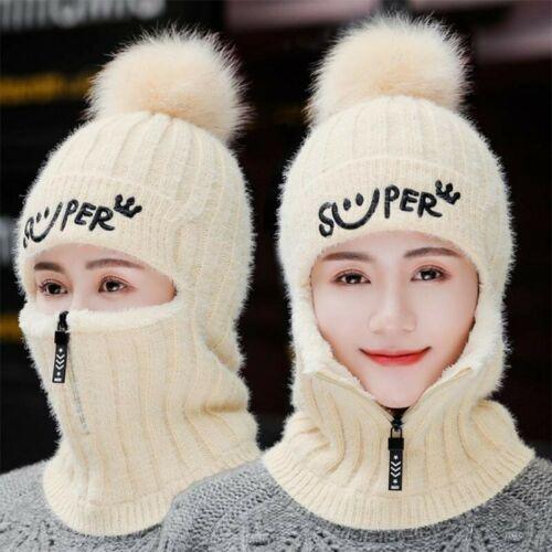 Women Fur Warm Outdoor Sunshade Travel Cap Winter Hats Knitted Hats Face Pompoms