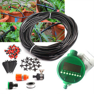 25m Manual/Automatic Drip Irrigation System Plant kit Watering Garden Lawn Hoses