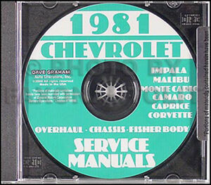 1984 1985 Chevy Shop Manual CD El Camino Caprice Impala Monte Carlo Caballero