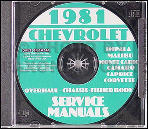 1981 Chevy Repair Manual CD El Camino Corvette Impala Caprice Monte Carlo Malibu