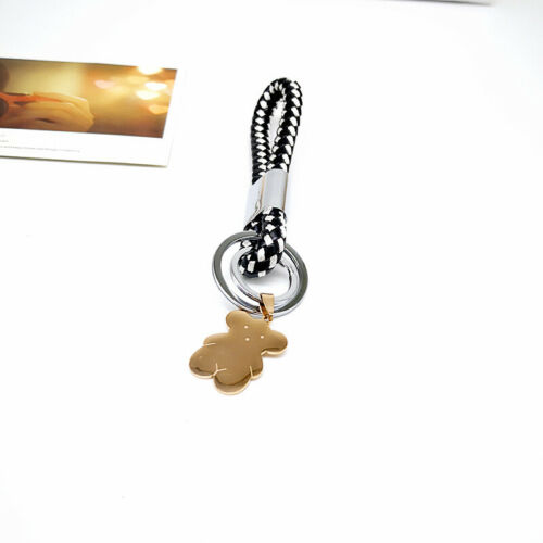 New Arrival Car Keychain PU Leather Men/'s Stainless Steel Bear Key Ring Pendant