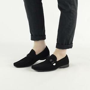 Men/'s UNBRANDED Faux Suede Black Slip On Loafers Casual Slippers Shoes NEW