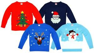 Boys-Girls-Xmas-Rudolph-Reindeer-Santa-Claus-Christmas-Unisex-Jumper-2-6-Years