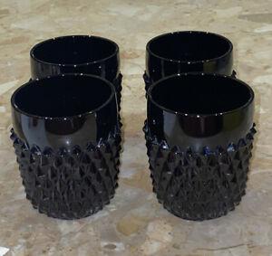 Set-Of-4-Vintage-Indiana-Glass-034-Tiara-Black-Diamond-Point-034-Highball-Tumbler-3-5