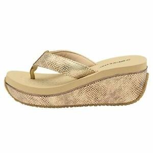 Dunlop-Ladies-Gold-Beige-Snake-skin-Print-Wedge-Heel-Toe-Post-Flip-Flops-Sandals