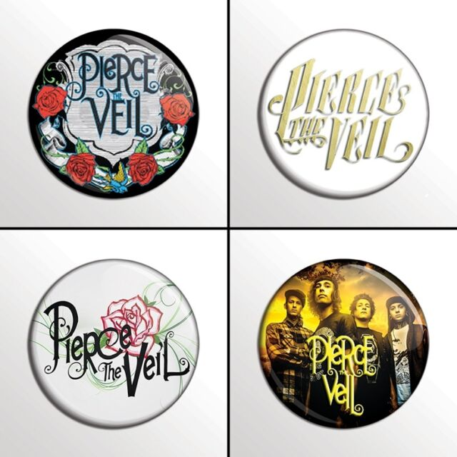 "4-Piece PIERCE THE VEIL (Set 1 of 3) 1"" Pinback Band Buttons / Pins / Badges Set"