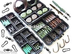 Peche-a-La-Carpe-Terminal-Fin-Tackle-Box-Set-poids-Attaches-de-securite-pour-cheveux-CEMA-Rigs