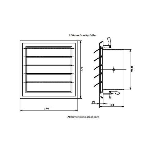"""Mur d/'avant-toits Gravity Grille Salle De Bain Extracteur Ventilateur aspirant 4/"""" 5/"""" /& 6/"""" Spigot"""