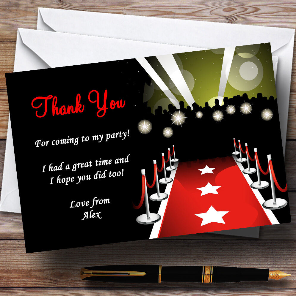 Vip rot Carpet Personalised Party Thank You Cards